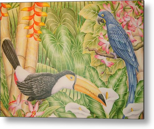 Lanscape Tropical Flower Bird Metal Print featuring the drawing Tropical Dream by Jubamo
