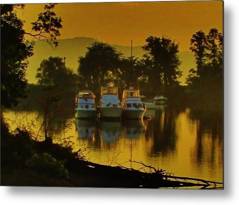 Rockland County Landscapes Metal Print featuring the photograph Boats On Bowline Pond by Thomas McGuire