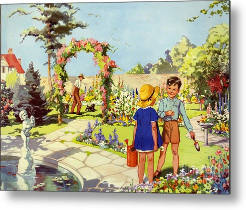 1950�s Metal Print featuring the drawing Infant School Illustrations 1950s Uk by The Advertising Archives