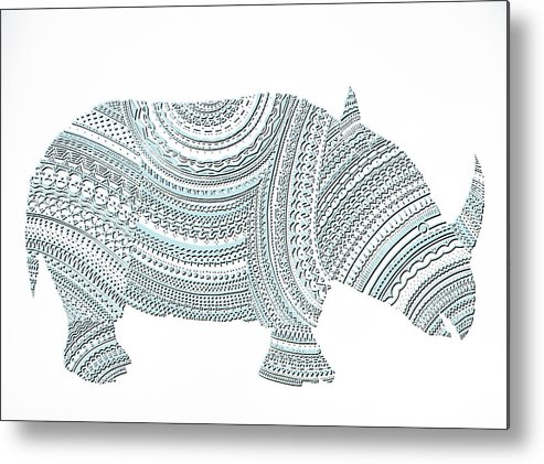 Rhinoceros Metal Print featuring the mixed media Rhinoceros by Olga Zsuzsanna Petrovits