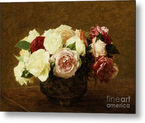 Roses Metal Print featuring the painting Roses by Ignace Henri Jean Fantin-Latour