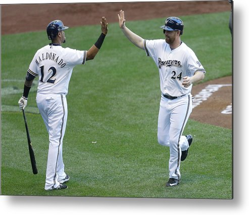 People Metal Print featuring the photograph San Francisco Giants V Milwaukee Brewers 1 by Mike Mcginnis