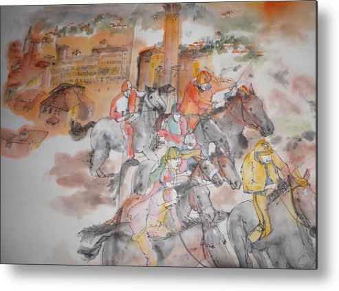 Il Palio. Horserace. Siena.italy. Medieval Metal Print featuring the painting Going To Siena For Il Palio Album by Debbi Saccomanno Chan