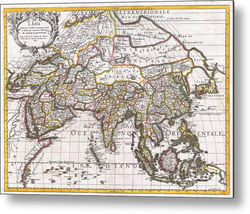 : A Spectacular 1687 Map Of Asia By The Important Italian Cartographer Giovanni Giacomo De Rossi. Depicts The Entire Continent As Well As Parts Of Europe Metal Print featuring the photograph 1687 Sanson Rossi Map Of Asia by Paul Fearn