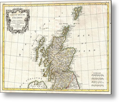 Metal Print featuring the photograph 1772 Bonne Map Of Scotland by Paul Fearn