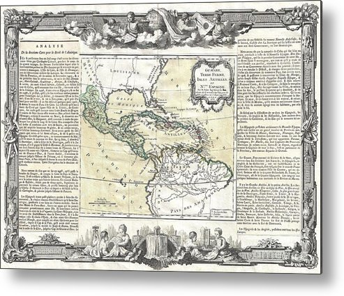 A Stunning Decorative 1766 Map Of Mexico Metal Print featuring the photograph 1788 Brion De La Tour Map Of Mexico Central America And The West Indies by Paul Fearn