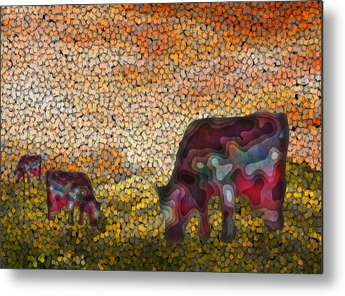 Digital Metal Print featuring the painting Grazing by Jack Zulli