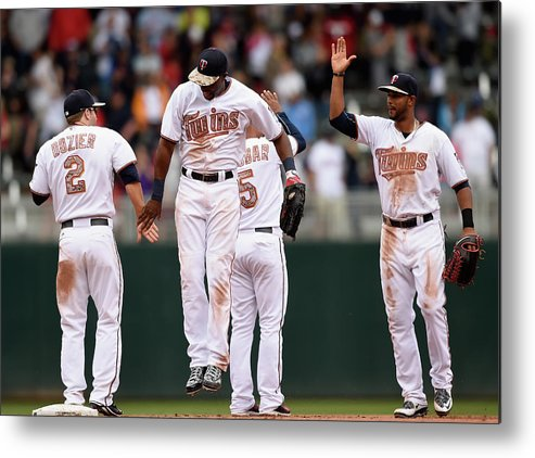 People Metal Print featuring the photograph Boston Red Sox V Minnesota Twins by Hannah Foslien