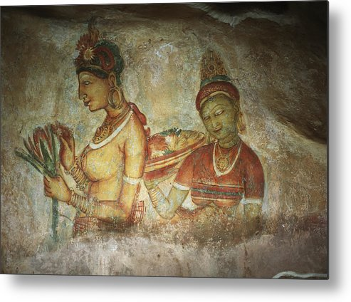 Sketch Metal Print featuring the photograph 5th Century Cave Frescoes by Chris Caldicott