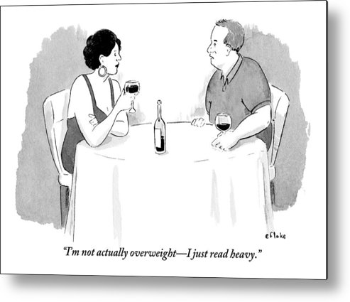 Dates - Social Metal Print featuring the drawing A Heavyset Man Talks To His Date At A Dinner by Emily Flake