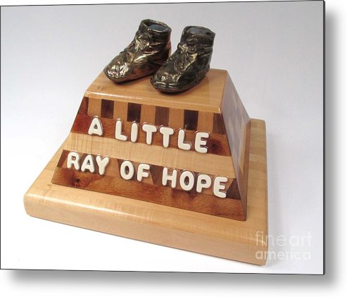 Baby Shoes Metal Print featuring the sculpture A Little Ray Of Hope #115 by Bill Czappa