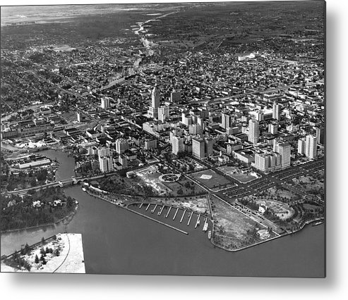 1934 Metal Print featuring the photograph An Aerial View Of Miami by Underwood & Underwood