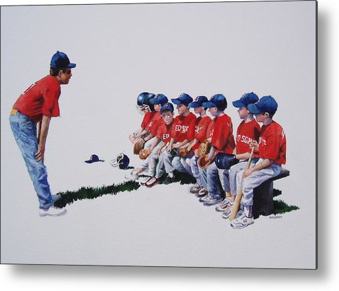 Baseball Players Metal Print featuring the painting Are We Ready Yet by Karol Wyckoff
