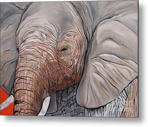 Elephant Bull Painting Metal Print featuring the painting Are You There by Aimee Vance