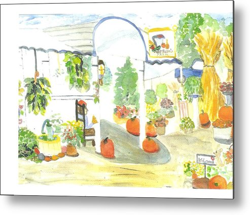 Nj Farm Stand Metal Print featuring the painting Aunt Helen's Farm by Thelma Harcum