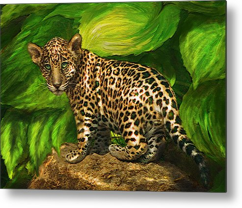 Jaguar Metal Print featuring the digital art Baby Jaguar by Jane Schnetlage