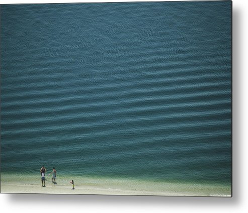Digital Metal Print featuring the photograph Beach Scene - Four People On Beach by Andy Mars