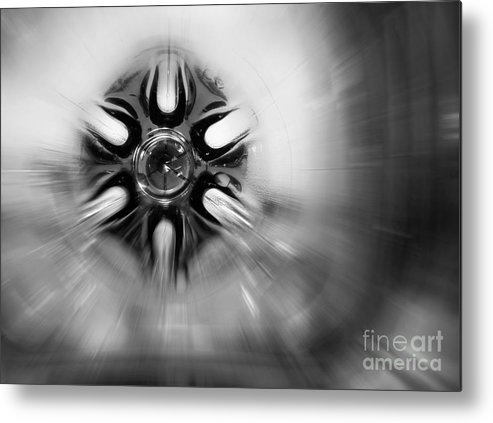 Abstract Metal Print featuring the photograph Black And White Abstract Burst by Karen Adams