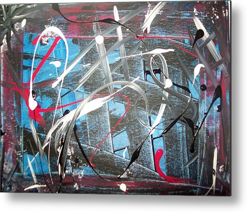 Abstract Metal Print featuring the painting Blue Confusion by Lora Mercado