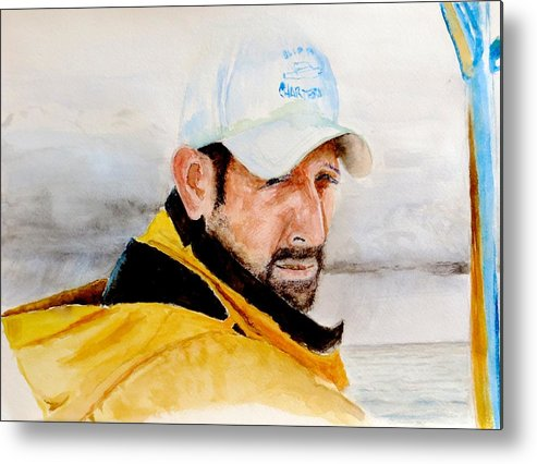 Boat Captain Metal Print featuring the painting Cap't Rob by Don Schroeder