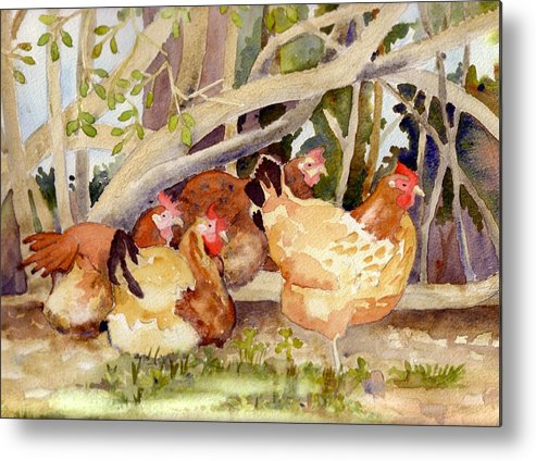 Hen Metal Print featuring the painting Chickens In The Hedge II by Christine Burn