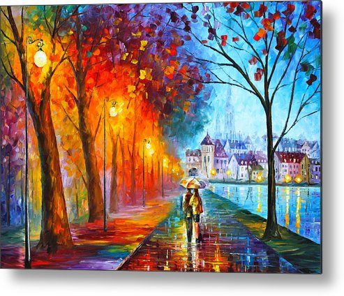 Afremov Metal Print featuring the painting City By The Lake by Leonid Afremov