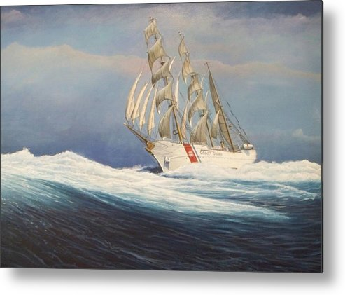 This Painting Is Of Eagle The Current Sail Training Ship Used By The Cadets Of The U. S. Coast Guard Academy. Painting Was Commissioned By The U. S. Coast Guardacademy Alumni Association For The Collection At The Coast Guard Academy Officers' Club. Metal Print featuring the painting Coast Guard Bark Eagle by William H RaVell III