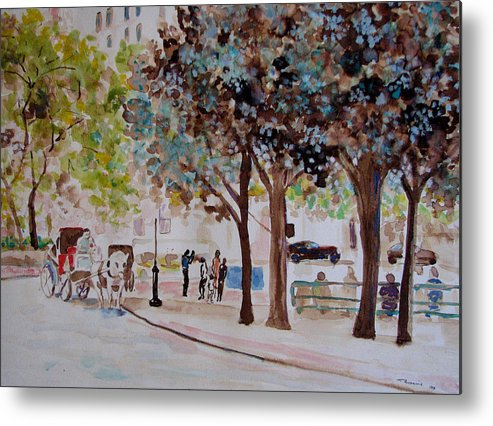 Cityscape Metal Print featuring the painting Columbus Circle In New York by Lucille Femine