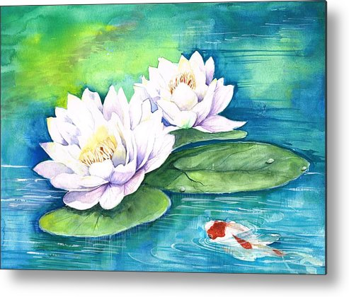 Lilies Metal Print featuring the painting Conversations 1 by Soma Mandal Datta
