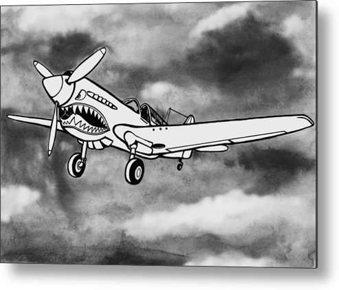 Warhawk Metal Print featuring the mixed media Curtiss P-40 Warhawk 2 by Scott Nelson