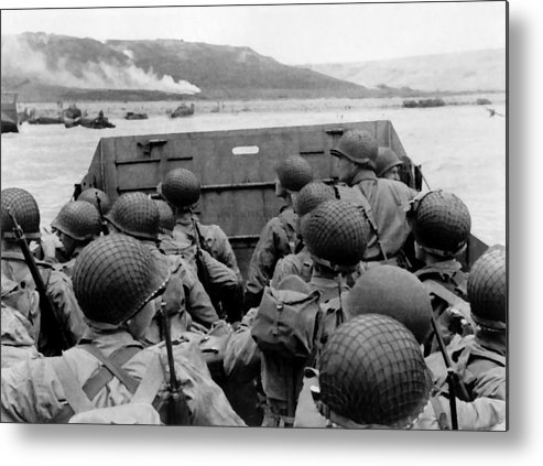 D Day Metal Print featuring the painting D-day Soldiers In A Higgins Boat by War Is Hell Store