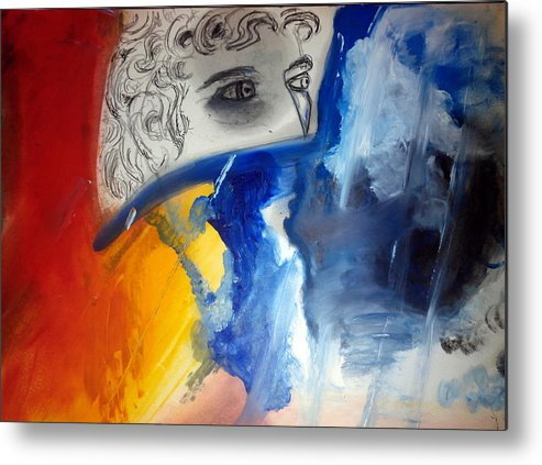 David Michelangelo Metal Print featuring the painting David Abstract Version by Daniele Fedi