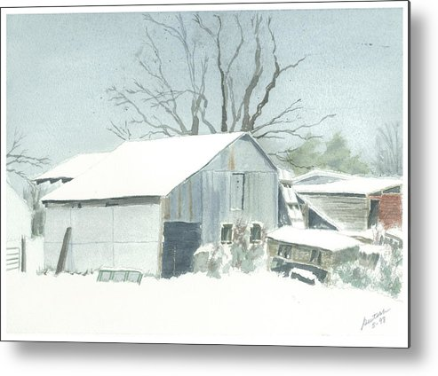 Winter Metal Print featuring the painting David Hoyles Shed by Joel Deutsch