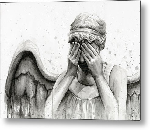 Who Metal Print featuring the painting Doctor Who Weeping Angel Don't Blink by Olga Shvartsur