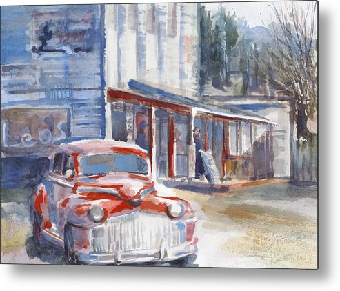 Car Metal Print featuring the painting Early Mopar by Lola Waller