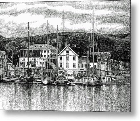 Dock Metal Print featuring the drawing Farsund Dock Scene Pen And Ink by Janet King