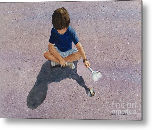Boy Metal Print featuring the painting Fire Starter by Karol Wyckoff
