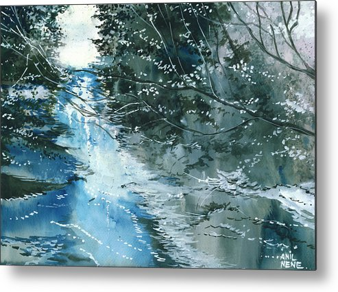 Nature Metal Print featuring the painting Floods 3 by Anil Nene