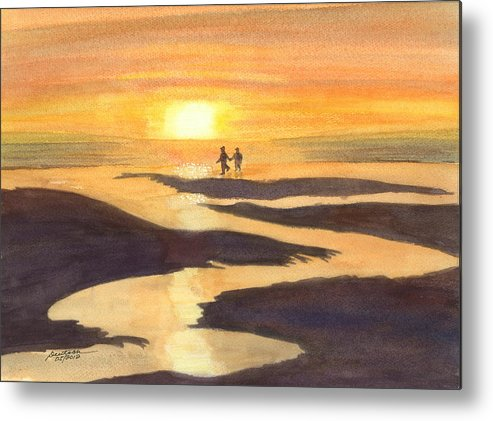 Kalaloch At Sunset Metal Print featuring the painting Glowing Moments by Joel Deutsch