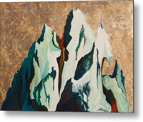 Mountains Metal Print featuring the painting Gold Mountain by Joseph Demaree