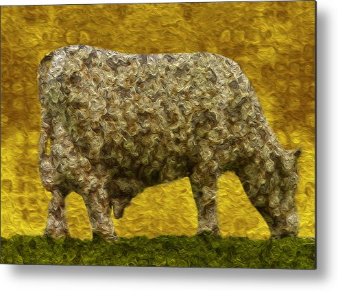 Digital Metal Print featuring the painting Grazing 2 by Jack Zulli