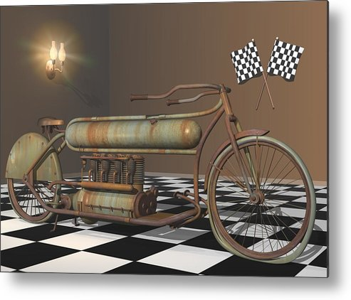 Motorcycle Metal Print featuring the digital art Henderson Special by Stuart Swartz