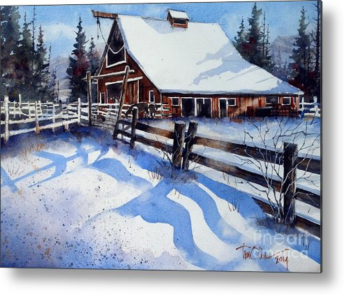 Metal Print featuring the painting High Country Snow by Tim Oliver