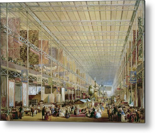 Architecture Metal Print featuring the drawing Interior Of The Great Exhibition Of All by Edmund Walker
