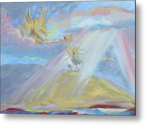 Prophetic Metal Print featuring the painting Jesus Raising His Banner Over Mexico by Patricia Kimsey Bollinger