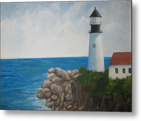 Lighthouse Metal Print featuring the painting Lighthouse by Kathy Raee Hansen