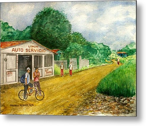 Limon Costa Rica Dirt Road Auto Servicio Kids Bike Metal Print featuring the painting Limon Costa Rica by Frank Hunter