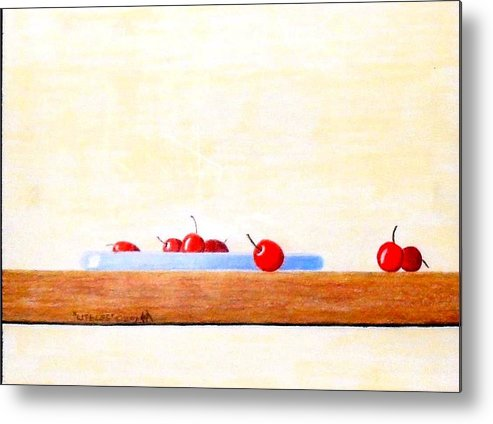 Cherries Metal Print featuring the painting Lite Life by A Robert Malcom