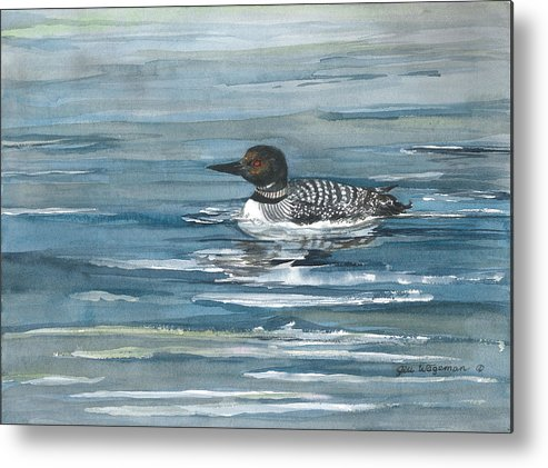 Blue Metal Print featuring the painting Looney Loon by Jill Wageman