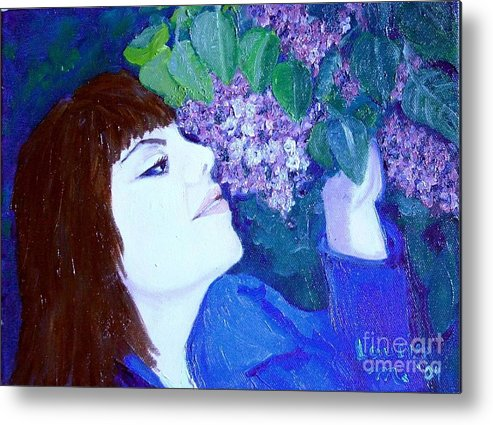 Lilacs Metal Print featuring the painting Lush Lilacs by Laurie Morgan
